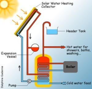 Schematic of a typical solar thermal, showing all the basic components, in particular the arrangement of the hot water cylinder and heat exchangers